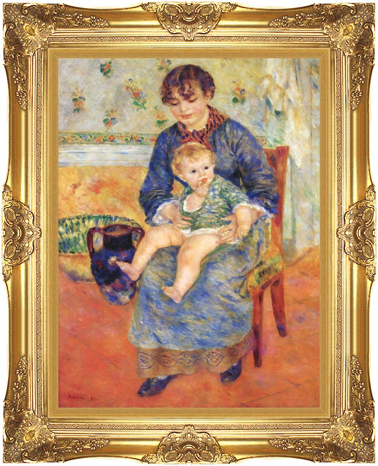 Pierre Auguste Renoir Mother and Child in a Chair with Majestic Gold Frame