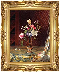 Martin Johnson Heade Vase Of Mixed Flowers canvas with Majestic Gold frame