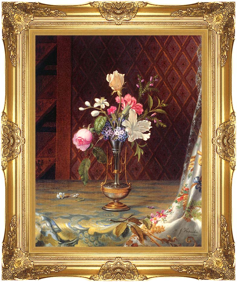 Martin Johnson Heade Vase of Mixed Flowers with Majestic Gold Frame