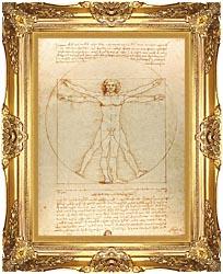Leonardo Da Vinci Vitruvian Man canvas with Majestic Gold frame