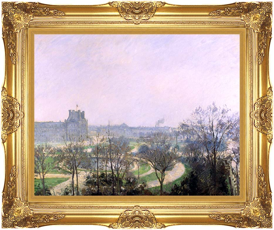 Camille Pissarro The Tuilieries Gardens with Majestic Gold Frame
