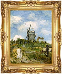 Vincent Van Gogh Blute Fin Windmill Montmartre canvas with Majestic Gold frame