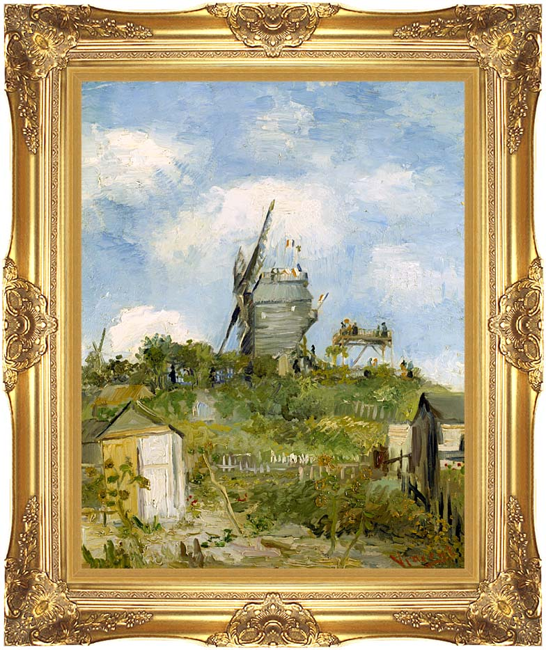 Vincent van Gogh Blute Fin Windmill Montmartre with Majestic Gold Frame