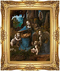 Leonardo Da Vinci Virgin Of The Rocks canvas with Majestic Gold frame