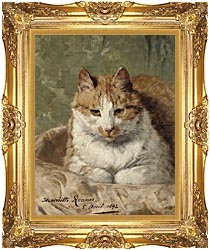Henriette Ronner Knip Carefree Cat canvas with Majestic Gold frame