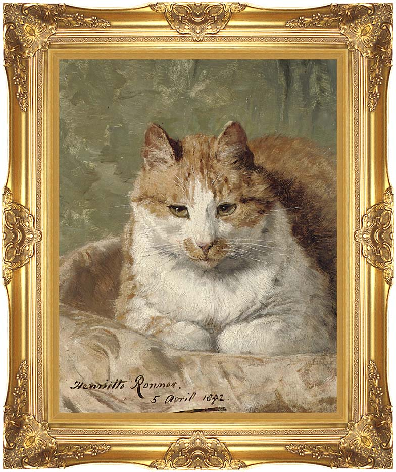 Henriette Ronner Knip Carefree Cat with Majestic Gold Frame