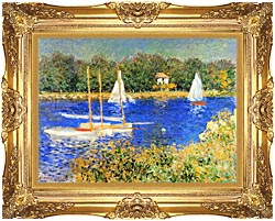 Claude Monet Sailboats At The Basin At Argenteuil canvas with Majestic Gold frame