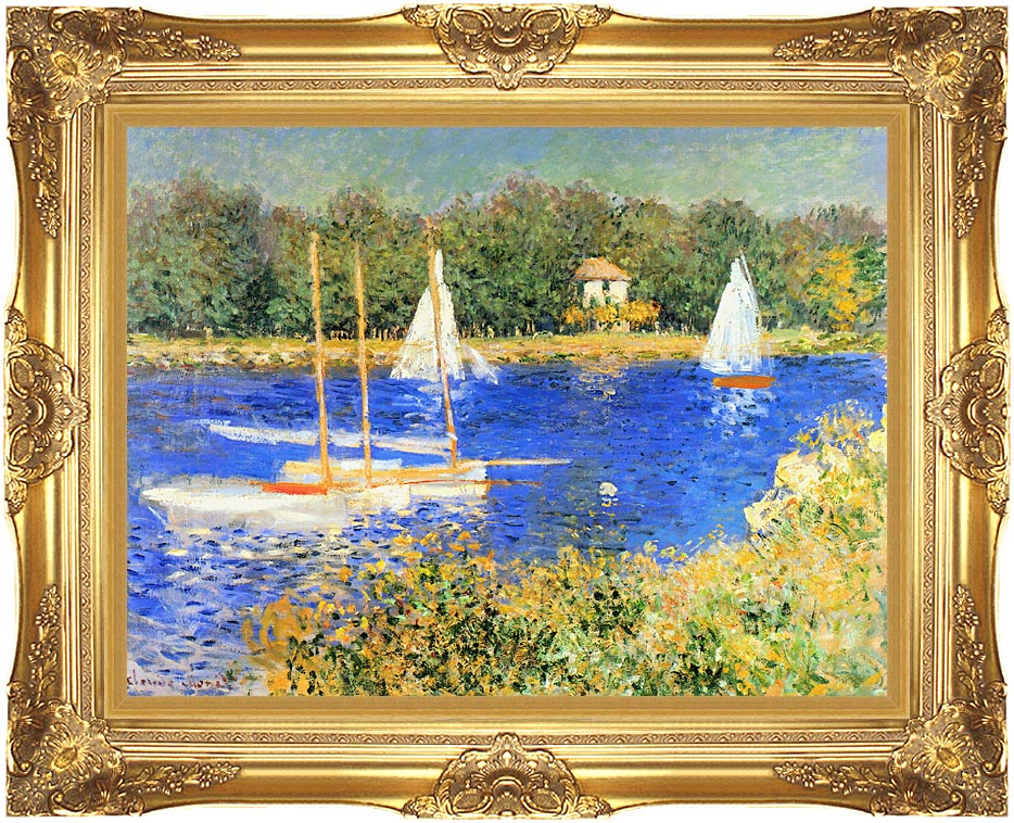Claude Monet Sailboats at the Basin at Argenteuil with Majestic Gold Frame