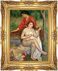 Pierre Auguste Renoir Bather And Maid canvas with Majestic Gold frame