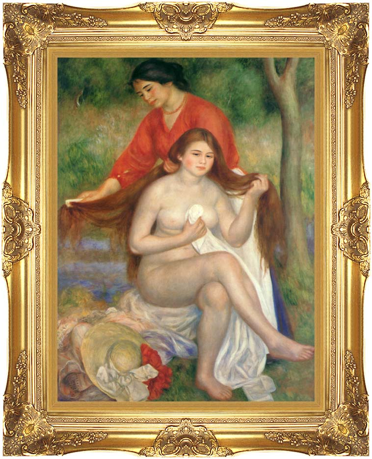 Pierre Auguste Renoir Bather and Maid with Majestic Gold Frame