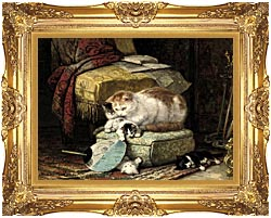 Henriette Ronner Knip A New Place To Hide canvas with Majestic Gold frame