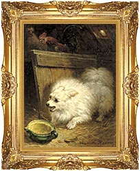 Henriette Ronner Knip In The Barn canvas with Majestic Gold frame