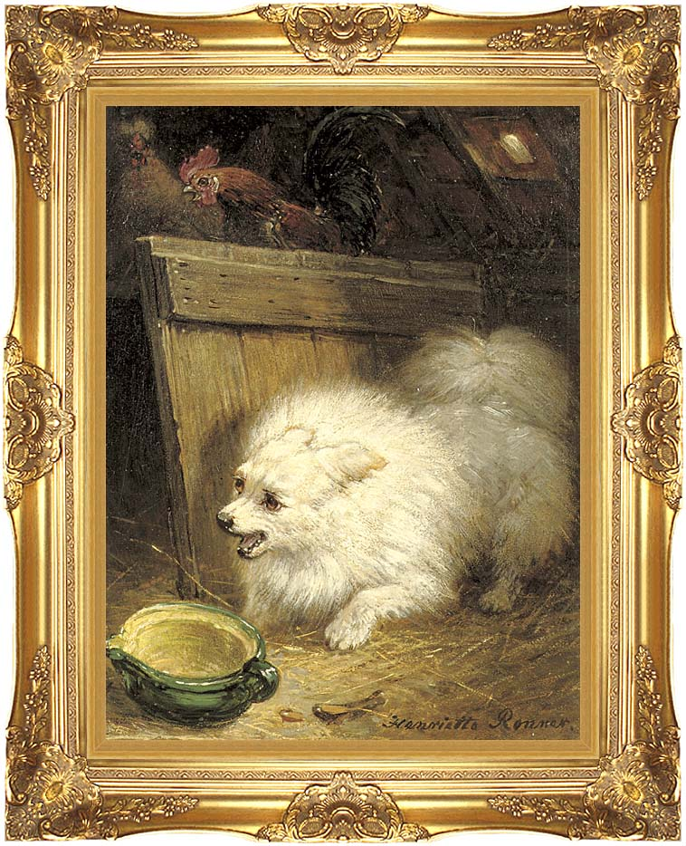 Henriette Ronner Knip In the Barn with Majestic Gold Frame