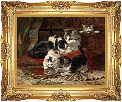 Henriette Ronner Knip Mother And Kittens Playing With A Hand Mirror canvas with Majestic Gold frame