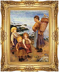 Pierre Auguste Renoir Mussel Fishers At Berneval canvas with Majestic Gold frame