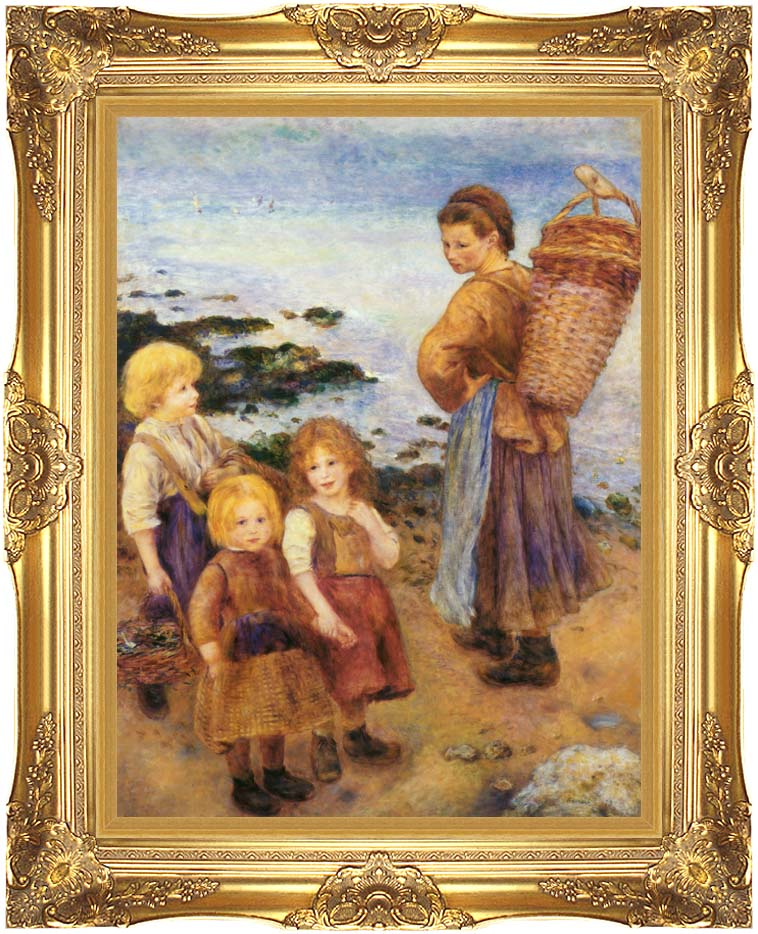 Pierre Auguste Renoir Mussel Fishers at Berneval with Majestic Gold Frame