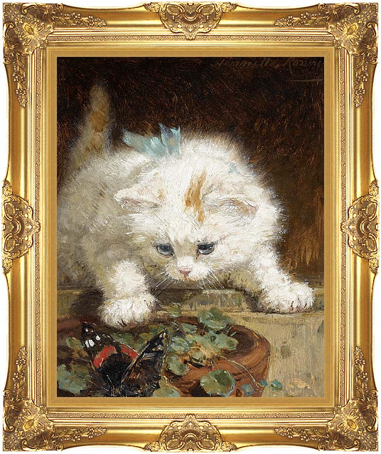 Henriette Ronner Knip A Kitten Chasing a Butterfly with Majestic Gold Frame