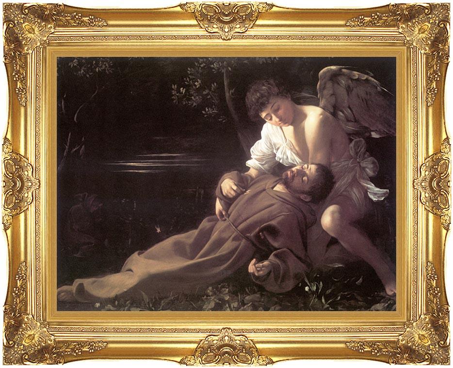 Michelangelo Merisi da Caravaggio St Francis in Ecstasy with Majestic Gold Frame