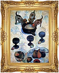 Paul Gauguin Still Life With Three Puppies Detail canvas with Majestic Gold frame