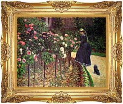 Gustave Caillebotte Roses Garden At Petit Gennevilliers canvas with Majestic Gold frame