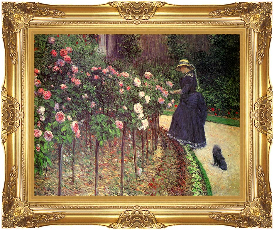 Gustave Caillebotte Roses, Garden at Petit Gennevilliers with Majestic Gold Frame