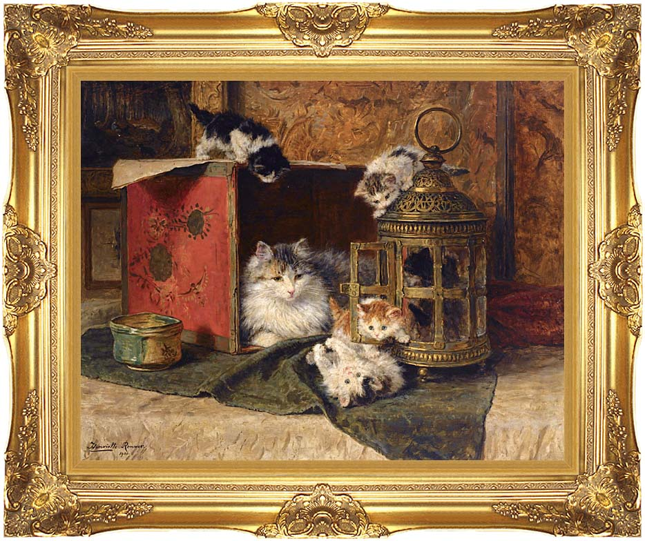 Henriette Ronner Knip A Mother Cat Watching Her Kittens Playing with Majestic Gold Frame