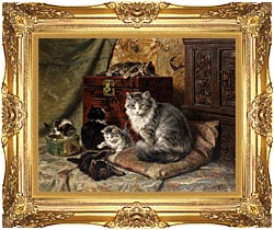 Henriette Ronner Knip A Cat And Her Kittens At Play canvas with Majestic Gold frame