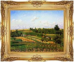 Camille Pissarro Harvest Landscape At Pontoise canvas with Majestic Gold frame