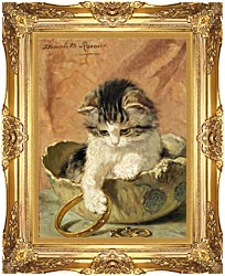 Henriette Ronner Knip A Kitten Playing With Jewelry canvas with Majestic Gold frame