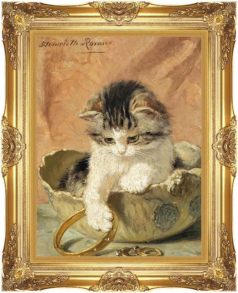 Henriette Ronner Knip A Kitten Playing with Jewelry with Majestic Gold Frame