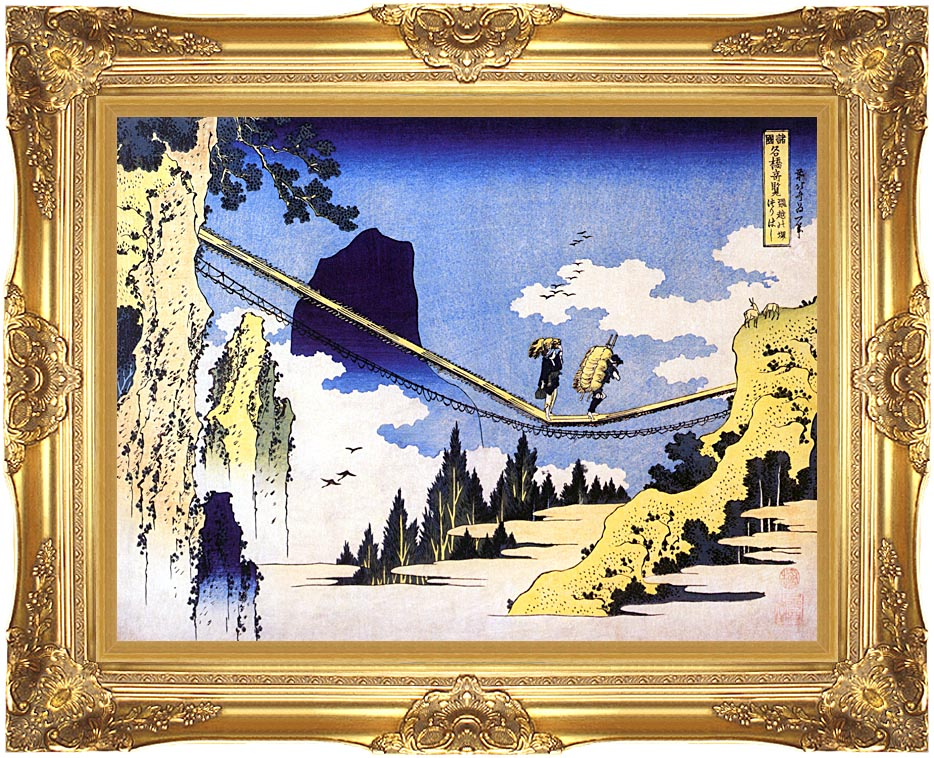 Katsushika Hokusai Farmers Crossing a Suspension Bridge on the Border of the Hilda and Etchu Provinces with Majestic Gold Frame
