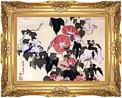 Katsushika Hokusai Morning Glories And Tree Frog canvas with Majestic Gold frame