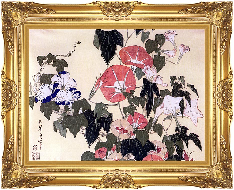 Katsushika Hokusai Morning Glories and Tree Frog with Majestic Gold Frame