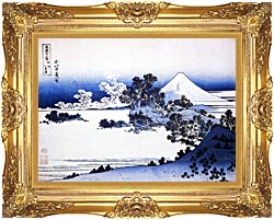 Katsushika Hokusai Fuji Seen From Shichirigahama Beach In The Sagami Province canvas with Majestic Gold frame