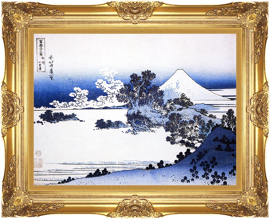 Katsushika Hokusai Fuji seen from Shichirigahama Beach in the Sagami Province with Majestic Gold Frame