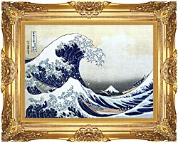 Katsushika Hokusai The Great Wave At Kanagawa canvas with Majestic Gold frame