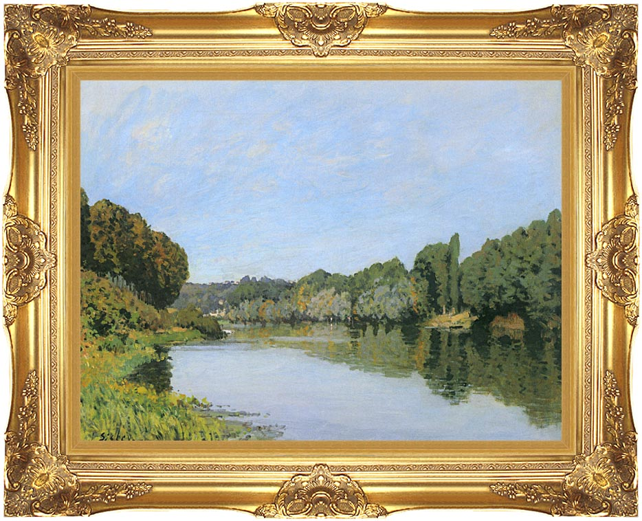 Alfred Sisley The Seine River at Bougival with Majestic Gold Frame