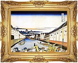Katsushika Hokusai Mount Fuji And Edo Castle Seen From Nihonbashi canvas with Majestic Gold frame