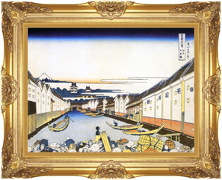 Katsushika Hokusai Mount Fuji and Edo Castle seen from Nihonbashi with Majestic Gold Frame