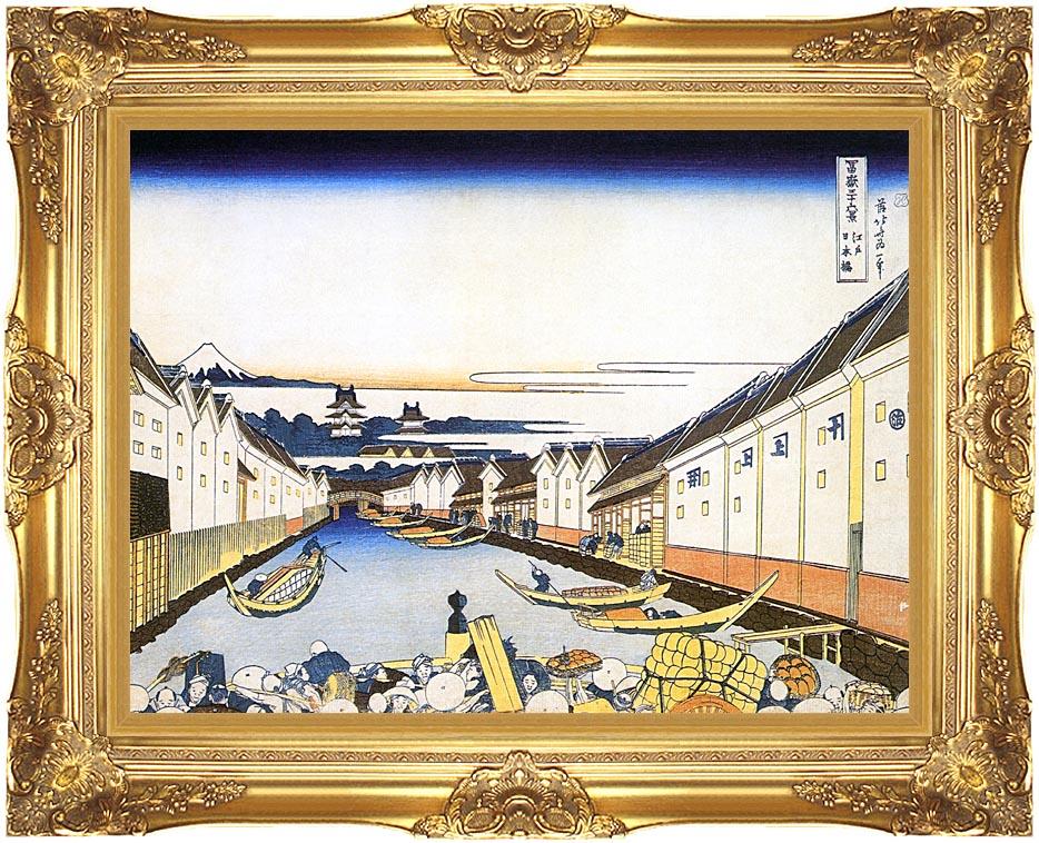 Katsushika Hokusai Mount Fuji and Edo Castle seen from Nihonbashi with Majestic Gold Frame