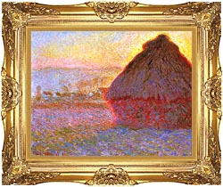 Claude Monet The Grainstack Sunset canvas with Majestic Gold frame