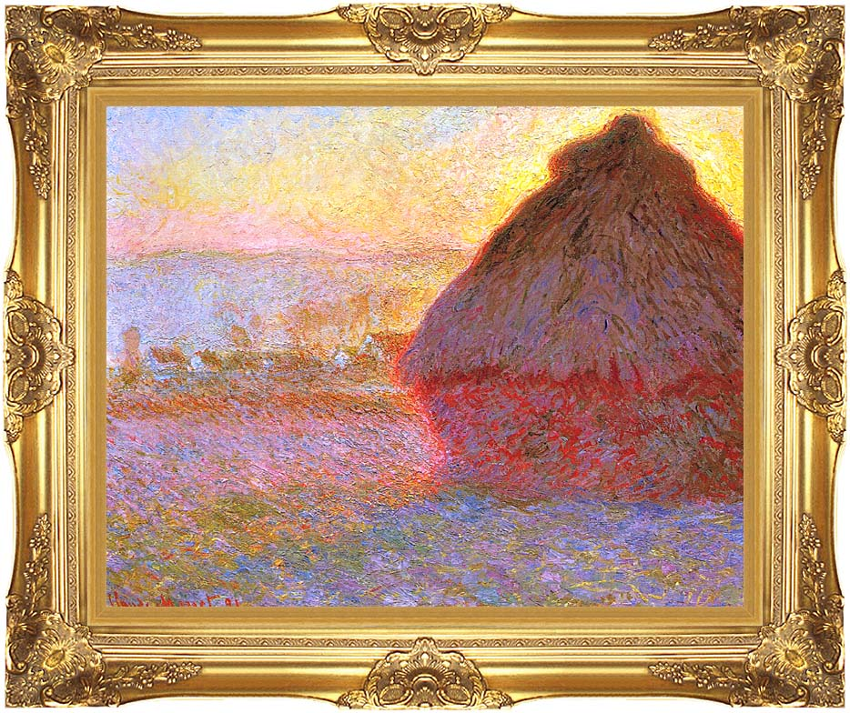 Claude Monet The Grainstack, Sunset with Majestic Gold Frame