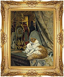 Henriette Ronner Knip A Mother Cat And Her Kitten With A Bracket Clock canvas with Majestic Gold frame