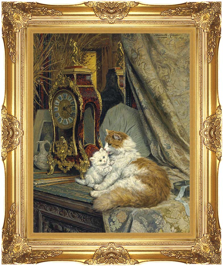 Henriette Ronner Knip A Mother Cat and Her Kitten with a Bracket Clock with Majestic Gold Frame