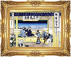 Katsushika Hokusai People Admiring Mount Fuji From A Tearoom At Yoshida canvas with Majestic Gold frame