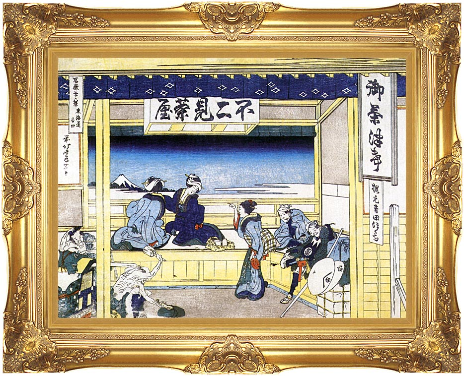 Katsushika Hokusai People Admiring Mount Fuji from a Tearoom at Yoshida with Majestic Gold Frame