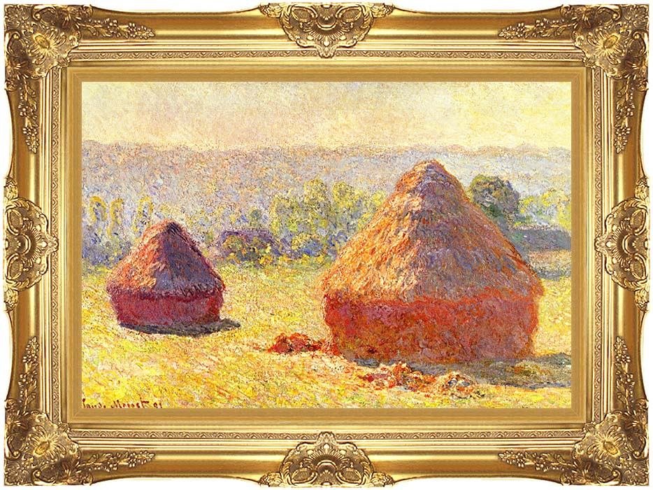 Claude Monet Haystacks, End of Summer, Morning with Majestic Gold Frame