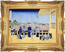 Katsushika Hokusai People On The Balcony Of The Gohyaku Rakan Temple canvas with Majestic Gold frame