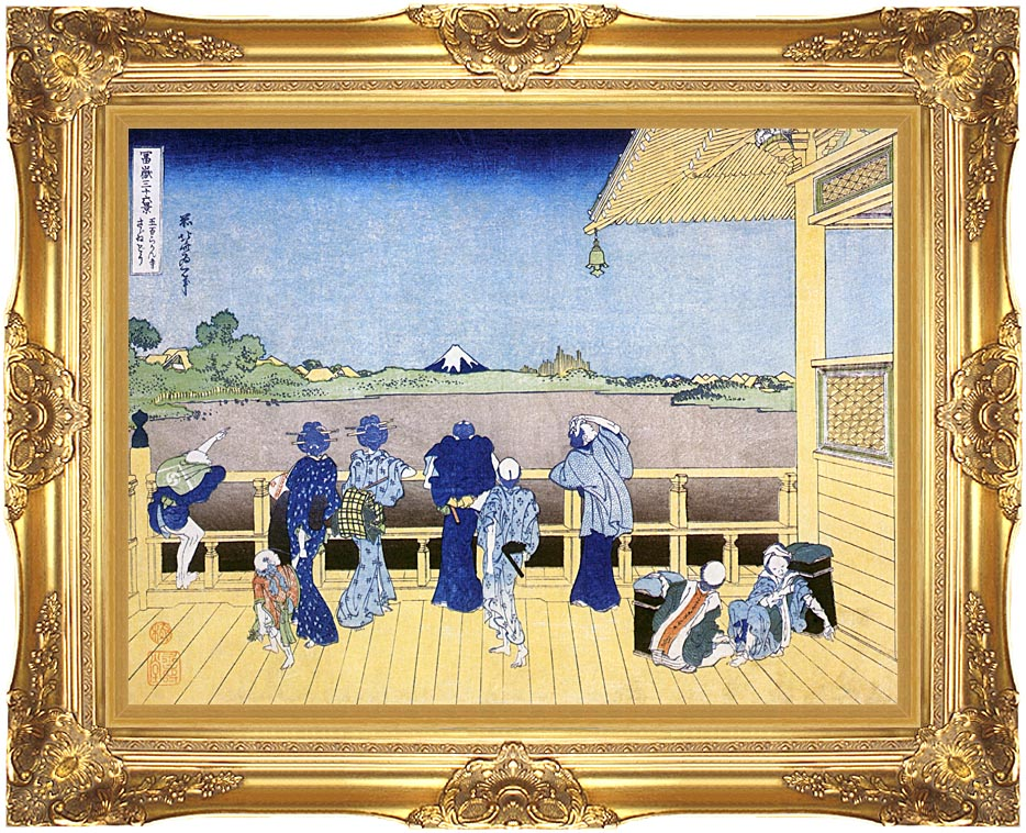 Katsushika Hokusai People on the Balcony of the Gohyaku Rakan Temple with Majestic Gold Frame