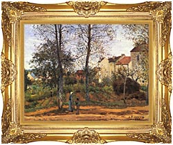 Camille Pissarro Landscape At Louveciennes canvas with Majestic Gold frame
